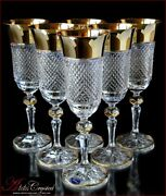 Bohemia Crystal Champagne Glasses 21 Cm, 180 Ml, Versace Gold 6 Pc New