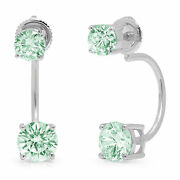 3.2ct Dual Drop 2 Stone Round Cut Light Sea Green Earrings Real 14k White Gold