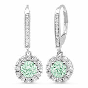3.55ct Round Cut Halo Light Sea Green Drop Dangle Earrings Real 14k White Gold