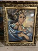 Antique Hand Sewn Cross Stitch Picture Without Frame