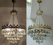 Matching Pair Of Antique Vintage Brass And Crystals French Chandeliers Lighting