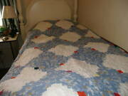 Quilt-log Cabin Pattern-45 X 72 Inches--handmade--blue Daisy Print With White