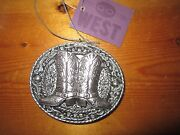 St. Nicholas Square Silver Color Western Cowboy Boots Christmas Holiday Ornament