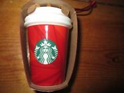 Starbucks Red Ceramic Coffee Mocha To-go Cup 2014 Christmas Holiday Ornament