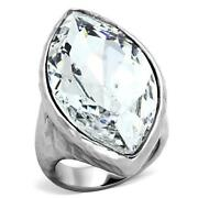 Ladies Cocktail Ring Marquise Stainless Steel 25c Sparkling Clear Statement 368