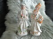 Hand Painted Japanese Victorian Lady And Gentleman Figurines 11 Tall