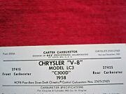 1958 Chrysler Lc3 C300d Carter Wcfb 2741s And 2742s Carburetor Spec And Info Sheet