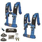 Pro Armor 4 Point 2 Padded Seat Harness Pair Mount Kit Bypass Blue General
