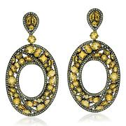 925 Sterling Silver 3.03ct Pave Diamond Citrine Cluster Dangle Earrings 18k Gold