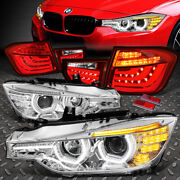 For 12-16 Bmw 3-series Led Drl+3d U-halo Projector Headlight+tail Lamps Chrome