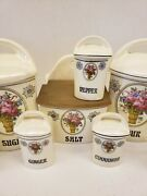 Early 20th Century Lustreware Labeled Kitchen Canisters 14pc W/ Lids. Beautiful