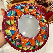 """Mosaic Mirror Hanging Multicolor Inlay Rainbow Round 12"""" D By Zenda Imports"""
