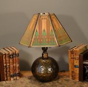 Lovely Arts And Crafts Lamp W/ Cellulose Pearline Shade