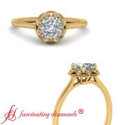 1/2 Carat Cushion Cut Diamond Vintage Floral Halo Engagement Ring In Yellow Gold