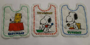 Vintage Snoopy Quilted Fabric For 3 Bibs Days Of Week 1958
