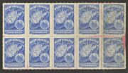 West Virginia State Liquor Control Commission Tax Stamp Block Of 10