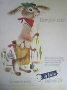 Vintage 1950's Pep O Mint Life Savers Bunny Drawing Advertising Color Sign/ad