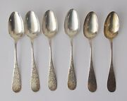 6 E.d. Tisdale And Sons Sterling Silver Teaspoons5 3/4 Longhand Engraved