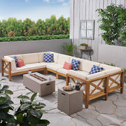 Cynthia Outdoor Acacia Wood 10-piece U-shaped Sectional Sofa Set With Fire Pit