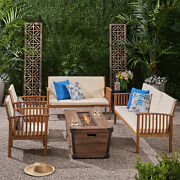 Beckley Outdoor 4 Piece Acacia Wood Conversational Set With Cushions And Fire Pi