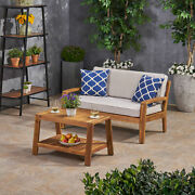 Parma Outdoor Acacia Wood Loveseat And Coffee Table Set With Sunbrella Cushions