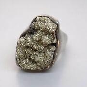 Early C.1950s Mexico Heavy Pyrite Modernist Sterling Silver Mens Ring 44g