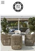 Dynasty Set Dinning Round Table Patio Chair Set W/ Cushion Outdoor Furniture