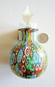 Vintage Millefiore Murano Glass Perfume Bottle With Label