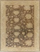 Antique Look Vegetable Dye Brown Oushak Turkish Area Rug Hand-knotted 8and039x10and039