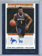 Zion Williamson 19/20 Panini Nba Hoops Great Significance Autograph Rookie Ssp