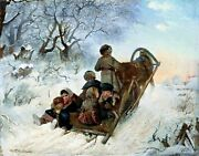 Children In A Sleigh By Russian Ivan Pelevin. Life Repro Choose Canvas Or Paper