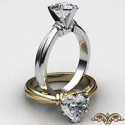 Ridged Solitaire Heart Diamond Engagement Gia G Si1 Gold 2.6mm Ring 0.70 Ct.