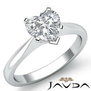 2mm Tapper Solitaire Heart Diamond Engagement Gia H Si1 Gold Ring 0.71 Ct.