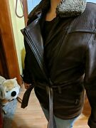 Tibor Leathers Womens Brown Leather Thermolite Liner Coat Size Small