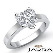 Heart Diamond Engagement Gia G Vs1 Flat Band 4 Prong Solitaire Gold Ring 0.70ct.
