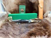 1986 6396 Bowie Knife With Stag Handles Leather Sheath G / Y Box Mint And Tag