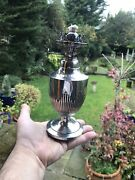 Antique 19th C Victorian Solid Silver Oil Lamp Sheffield 1890 By James Deakin Wd