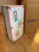 Vintage Cass Cabbage Patch Kids Doll Trunk Wardrobe Clothes Wooden And Metal Case