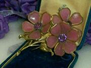 Rare Trifari Alfred Philippe Pink Poured Glass Flower Huge 4 1/4 Fur Dress Clip