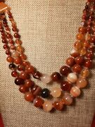 Orange Carnelian Agate Necklace Tapered 28andrdquo With 12.5 Mm Beads Beautiful Tc1533