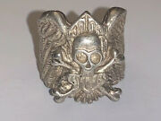 """Vintage 1983 Retro Sterling Silver And Biker Skull Ring Size 7, """"motor Cycles"""" Lg"""