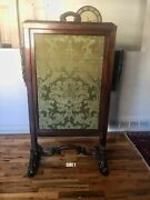 Fire Screen Antique 19 Century, Walnut Wood, Fabric, Great Condition