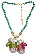 Kirks Folly Christmas Mittens Magnetic Interchangeable Necklace Goldtone