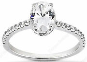 1 Ct Total .69 Ct Oval Center W/ Round Diamond 14k White Gold Engagement Ring 8