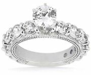 2.6 Carat Engagement Round Diamond Ring Semi Mounting 14k Gold, G Color Si1
