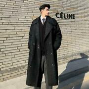 Mens Fashion Vintage Winter Lapel Double-breasted Overcoats Loose Warm Wool Coat