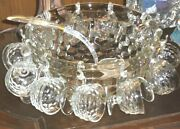 Vintage Fostoria 13 American Punch Bowl W/eleven 11 Footed Cups - No Base