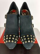 Guess Varian Black Fabric Studded High Heel Bootie Shoes 9.5m