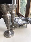 Antique 19th Islamic Arabic Solid Silver 3d Carving Centerpiece Bowl And 2 Vases