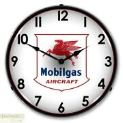 Mobilgas Aviation Gas Aircraft Jet Fuel Logo Wall Clock 14 Led Lighted Back New